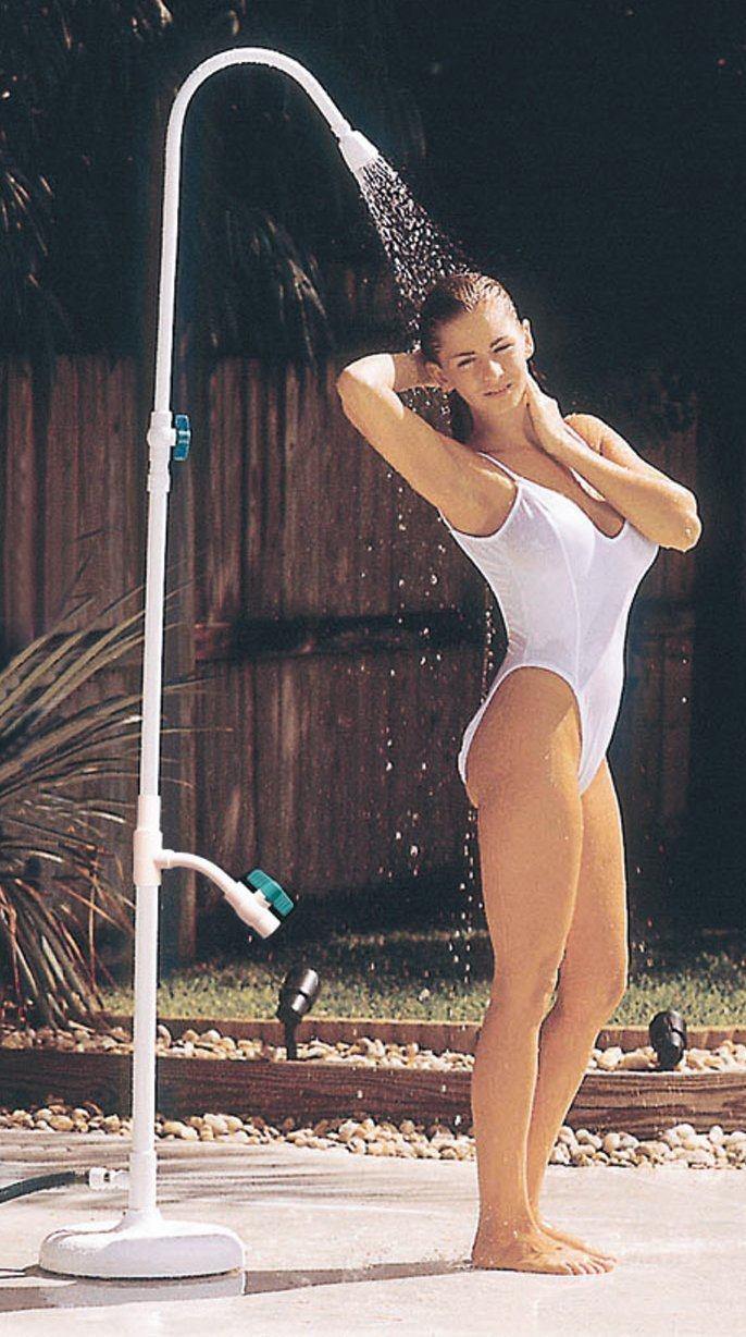 Outdoor Lamp Company Poolside Portable Power Shower with Foot Washer