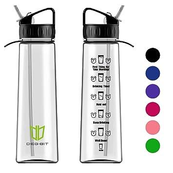 Degbit Botella, Plástico Ecológico y sin BPA Botella de Agua, 1L BPA Free Botella