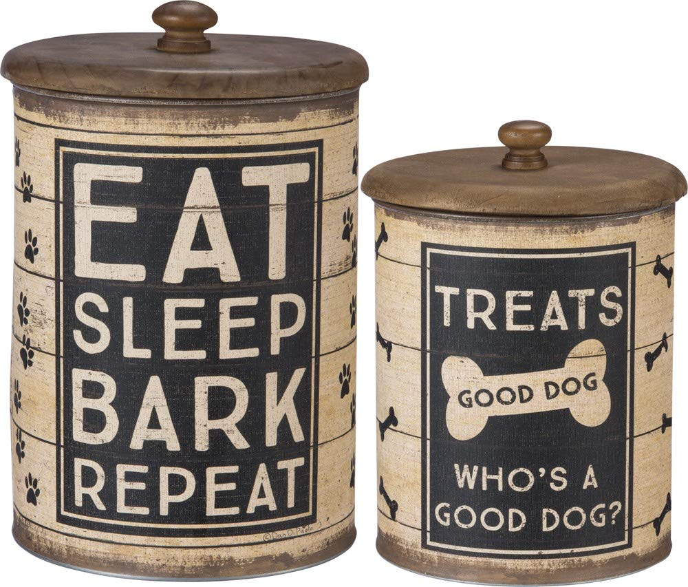 Primitives by Kathy 39369 Dog Treat Tin Canisters, 2-piece, Sleep, Bark, Repeat by Primitives by Kathy