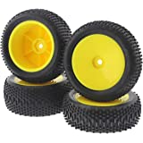 Losi 1/14 Mini 8ight Buggy * KING PIN TIRES, YELLOW WHEELS * Front Rear 12mm Hex