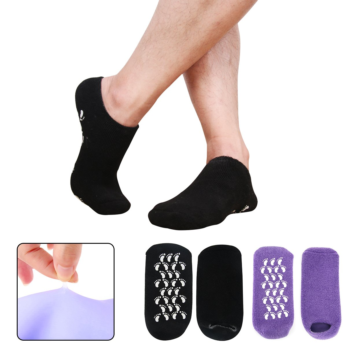Codream Men's Moisturizing Gel Socks Men's Feet Care Ultimate Treatment for Dry Cracked Rough Skin on Feet with Spa Quality Botanical Gel Set of 2 Pairs Black and Purple Small