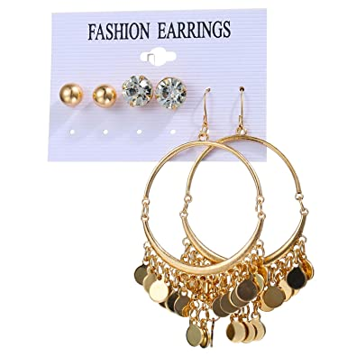 5aa897dcac4c Amazon.com  3 Pairs Fashion Rhinestone Pearl Earrings Set Women Ear Fashion Jewelry  earrings for women pendientes mujer moda 2018 F20