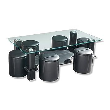glastisch mit 6 hocker bestseller shop f r m bel und einrichtungen. Black Bedroom Furniture Sets. Home Design Ideas