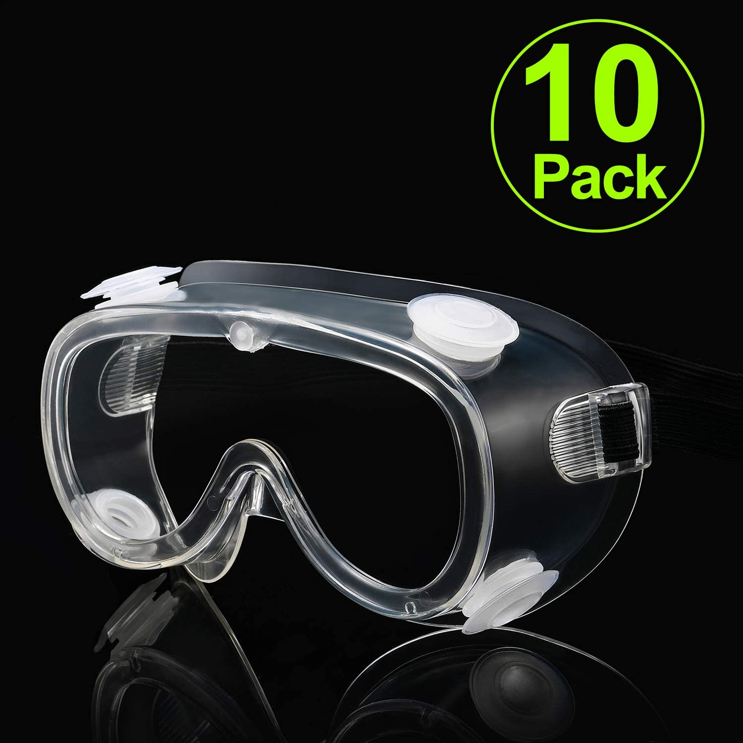 10 Packs CARFIA Indirect Vent Safety Goggles Over Glasses for Home & Workplace, UV400 Clear Anti-Fog Scratch Resistant Wrap-Around Lenses