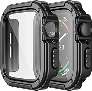 Adepoy 2 Pack Rugged Case Compatible for Apple Watch 44mm Series SE/6/5/4 with Tempered Glass Screen Protector, Military All Around Hard TPU Protective Cover Case Shockproof Bumper for iWatch Men 44mm