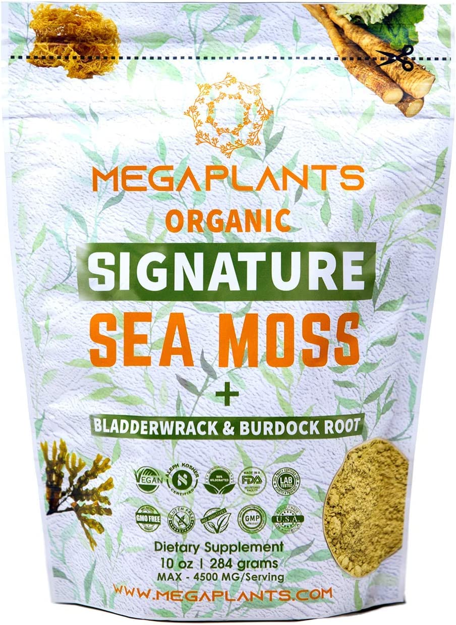 MegaPlants Signature Sea Moss + Bladderwrack + Burdock Root Powder | 10 Oz | 4500 MG/Serving | 94 Servings | Certified Organic | Wildcrafted | Non GMO | Essential Minerals | Energy + Immune Booster