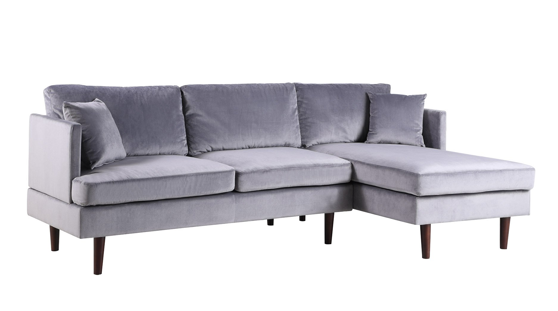 Sofamania Mid-Century Modern Brush Microfiber Sectional Sofa, L-Shape Couch with Extra Wide Chaise Lounge (Grey), Large - Family room / living room sectional sofa with an extra wide chaise lounge for maximum comfort. Ultra soft and durable brush microfiber fabric upholstery, loose back pillows for a plush look and comfort. Sits up to 4 people comfortably. Available in various fun and vibrant colors to best fit your home decor. - sofas-couches, living-room-furniture, living-room - 71E86%2BCW1YL -