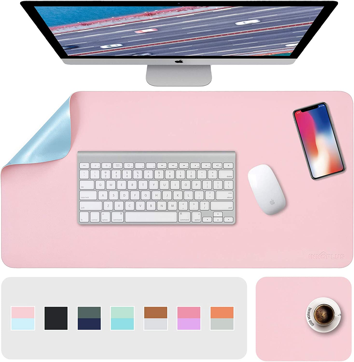 """Desk Pads, Pink Mouse Pad, Desk Mat, XL Desk Pads Dual-Sided Pink/Blue, 31.5"""" x 15.7"""" + 8""""x11"""" PU Leather Mouse Pad 2 Pack Waterproof, Mouse Pad for Laptop, Home Office Table Protector Blotter Gifts"""