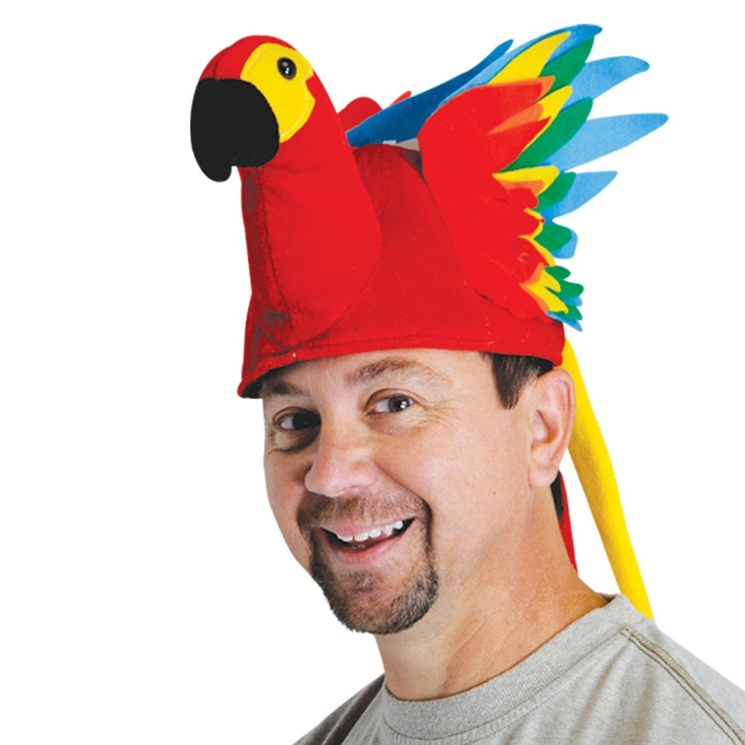 Pack of 6 Bold and Colorful Plush Tropical Parrot Hat-One Size