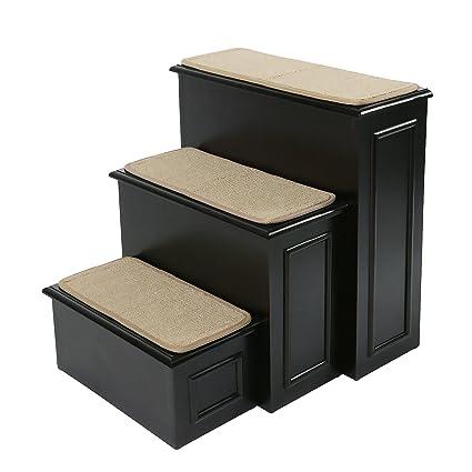 Gen7Pets Designer Wood Furniture Pet Steps With Machine Washable Soft  Carpet Platforms And Hide Away Storage