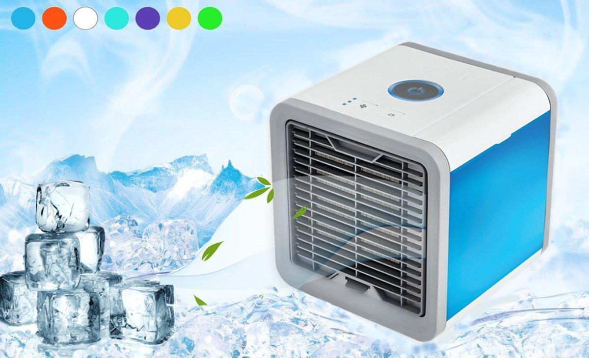 Klimaanlage Luftbefeuchter Luftreiniger LED-Licht Desktop-Luftk/ühler Fan Office Home USB Weesey Mini tragbare Luftk/ühler