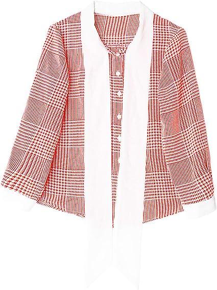 XCXDX Camisa A Cuadros Roja Y Blanca con Lazo De La Cinta Dulce De Lady, Top De Gasa Liviana, Blusa De Manga Larga: Amazon.es: Deportes y aire libre
