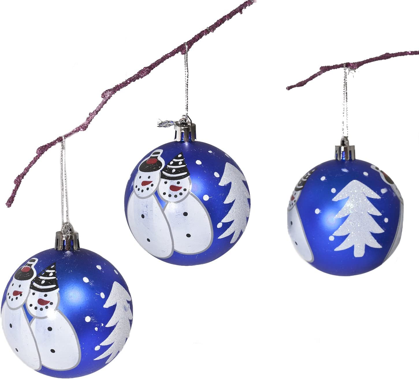 Perfect Holiday Handpainted 3-Piece Shatterproof Christmas Ornament Set 2.75-Inch Green Matte Ball with Peacock and Acrylic Diamond