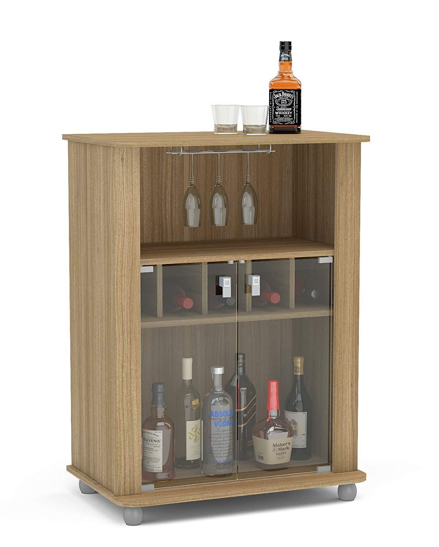 Boahaus Modern Mini Bar 2 Door, 4 claster & Wine Rack Brown/Wood by Boahaus