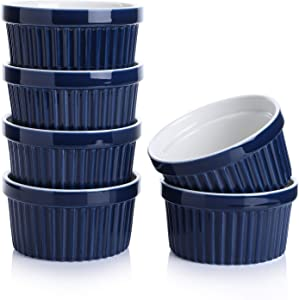 Sweese 501.603 Porcelain Souffle Dishes, Ramekins - 8 Ounce for Souffle, Creme Brulee and Ice Cream - Set of 6, Navy