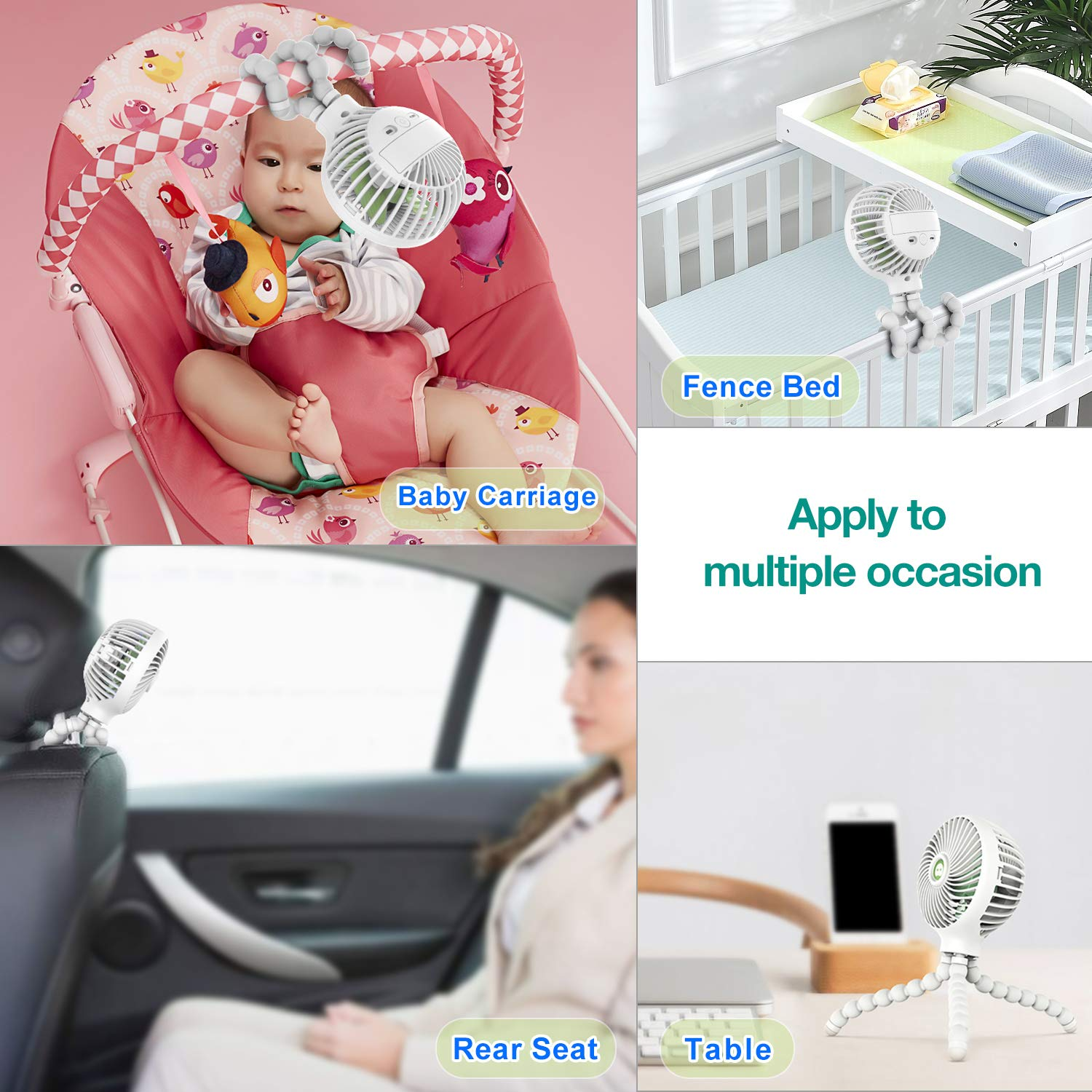 Mini Handheld Stroller Fan, TRELC Personal Portable Baby Fan with Flexible Tripod, Gift for Children, Rechargeable Fan for Office Room Car Traveling BBQ Gym Fan with 3 Settings (White) by TRELC (Image #6)