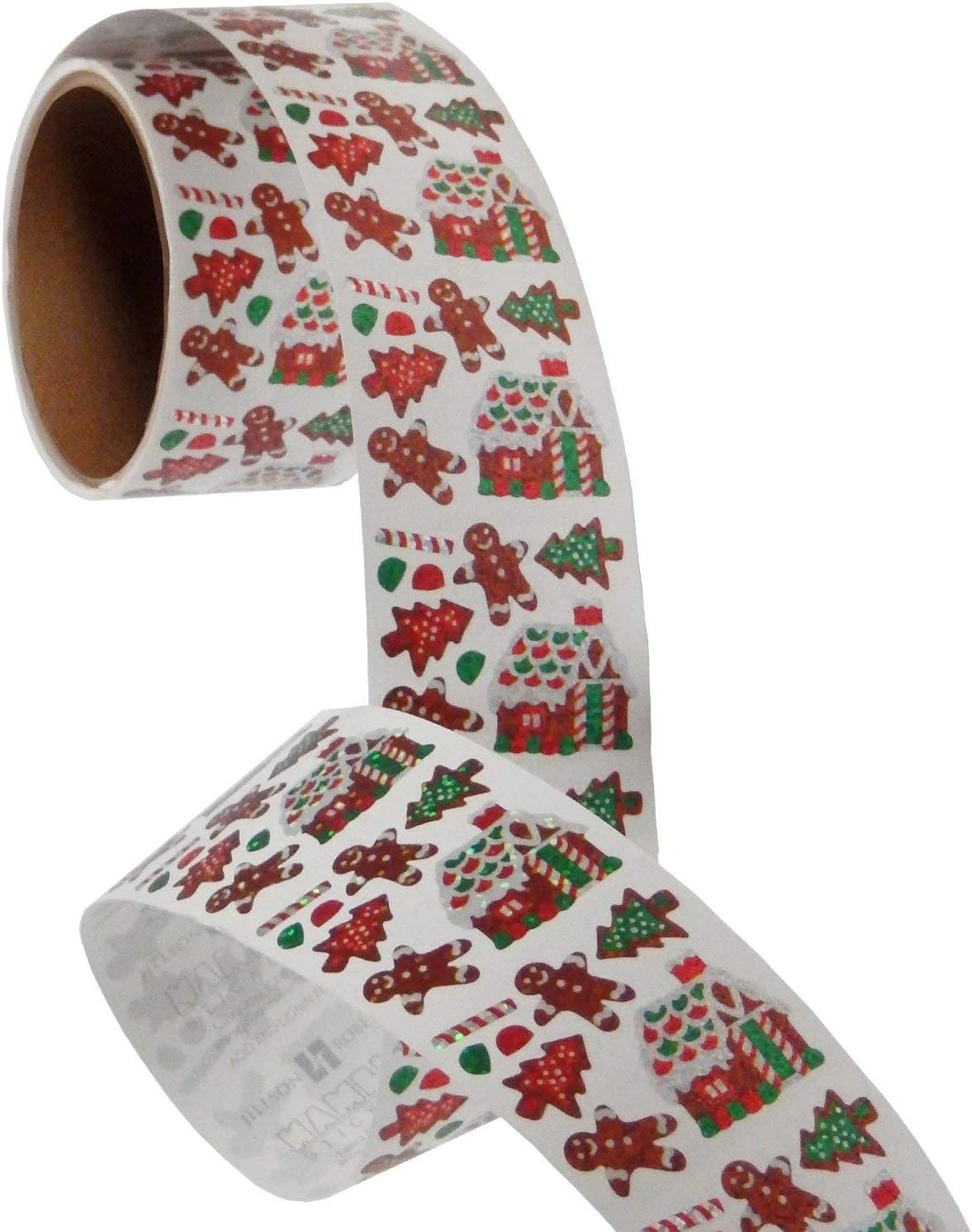 Jillson & Roberts Bulk Rol Stickers, Mini Gingerbread House, Cookies - 100 Repeats
