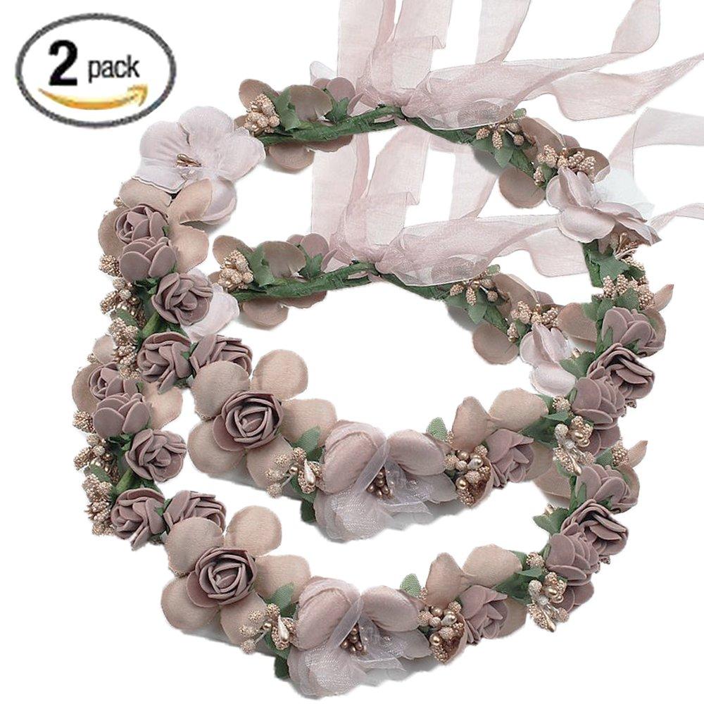 2 flower crown hair band headband garland floral wedding bridal 2 flower crown hair band headband garland floral wedding bridal girls kids party izmirmasajfo
