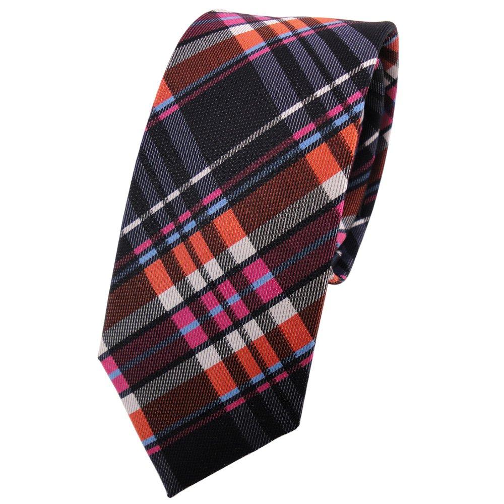 TigerTie - corbata de seda estrecha - naranja rosa antracita plata ...