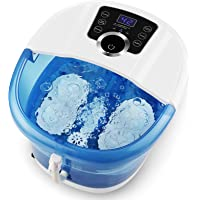 Foot Spa Automatic Bath Massager with Heat, 4 Motorized Massage Rollers Bubbles, 3-Speed Frequency Conversion…