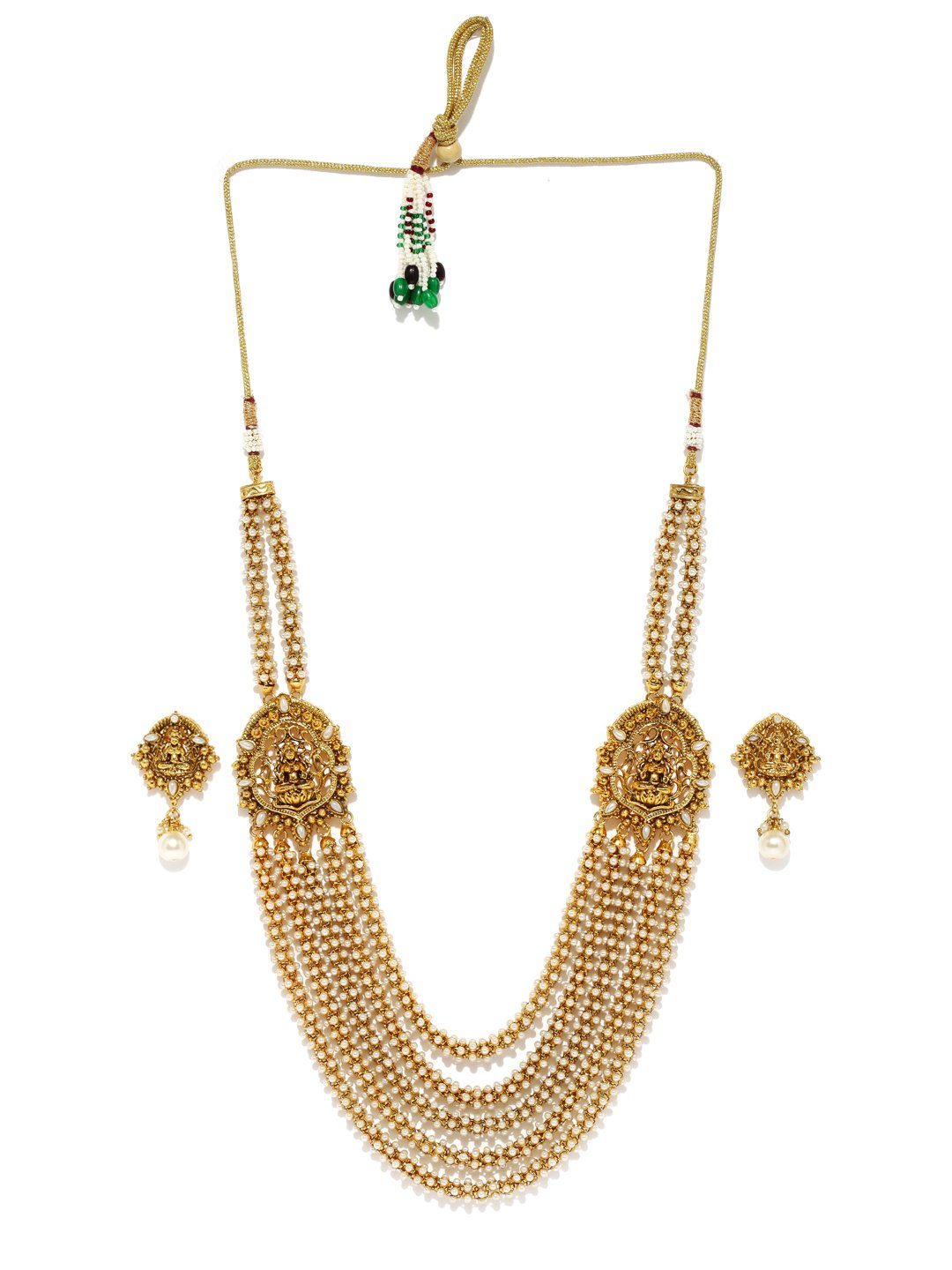 RUBANS Gold Plated Traditional Indian Jewelry Set Bollywood Ethnic Wedding Bridal Peals Divine Lakshmi Temple Long Necklace Set for Women