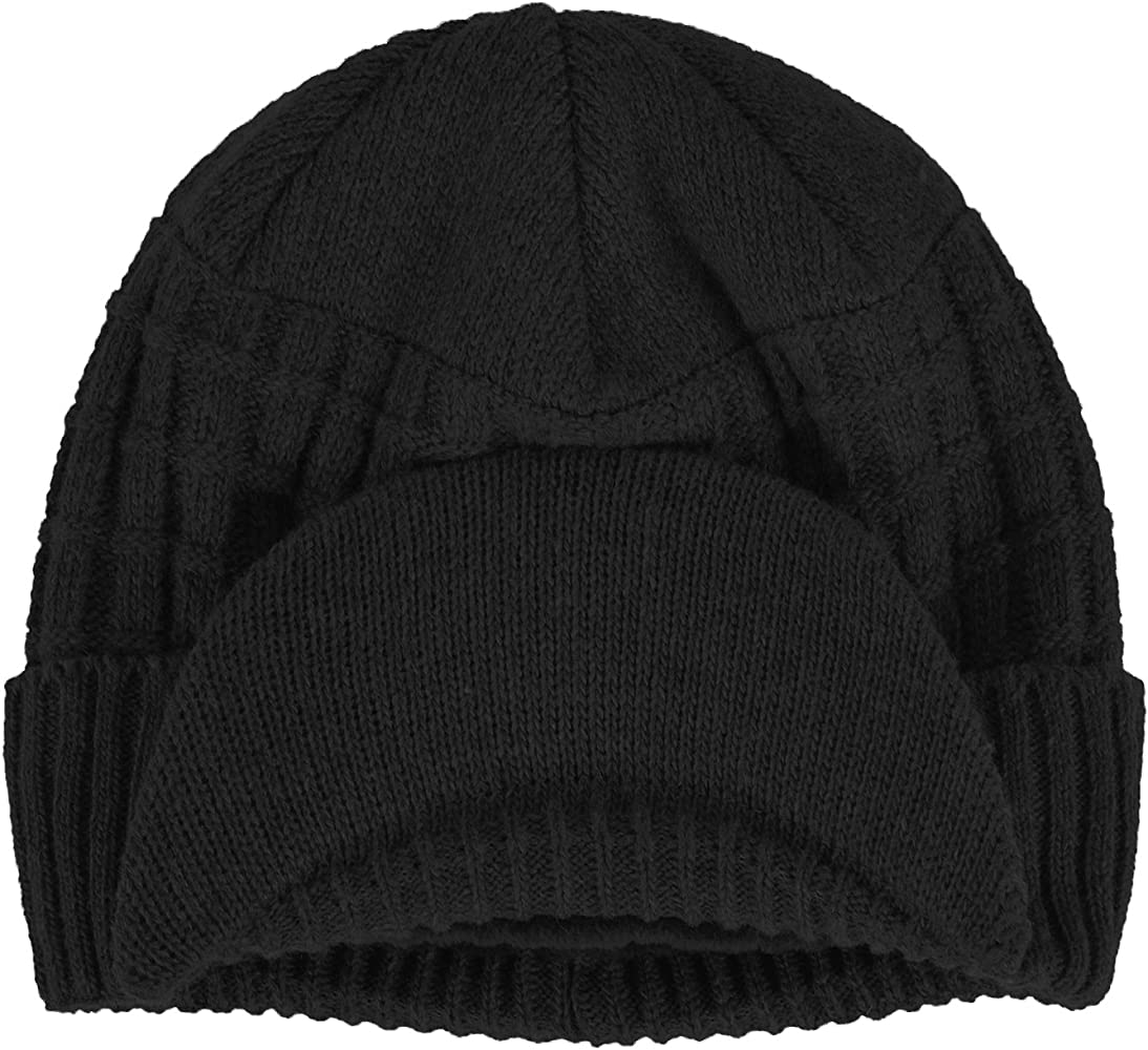 Men Winter Warm Knitted Wool Hat Stripe Visor Brim Peaked Beanie Ski Hat Cap US