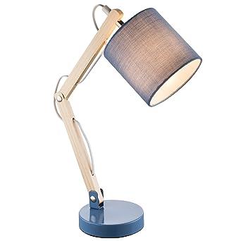 Schreibtischlampe Blau Beige Industrial Loft Stoff Leselampe