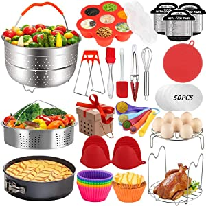 Pressure Cooker Accessories Set Compatible with Instant Pot 5,6,8 QT, Steamer Basket, Springform Pan, Egg Rack, Egg Bites Mold, Cheat Sheet Magnets, Bowl Clip, Tong& Mitts and More/instanpot accessory