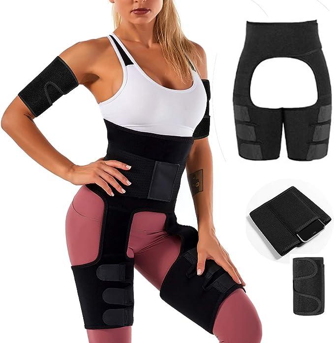 Yoga Running 4 in 1 Waist and Thigh Trainer Butt Lifter Waist Trimmer Hip Enhance Arm Thigh Trainer for Women Weight Loss Workout Chriffer High Waist Thigh Trimmer for Women Fitness Slimming Wear