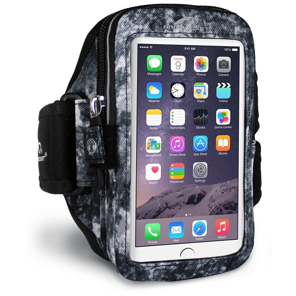 Armpocket® Mega i-40 Armband für iPhone 6S Plus, Samsung Galaxy Note 4 oder vergleichbar große Telefone bis 165 mm Höhe 40ABLS