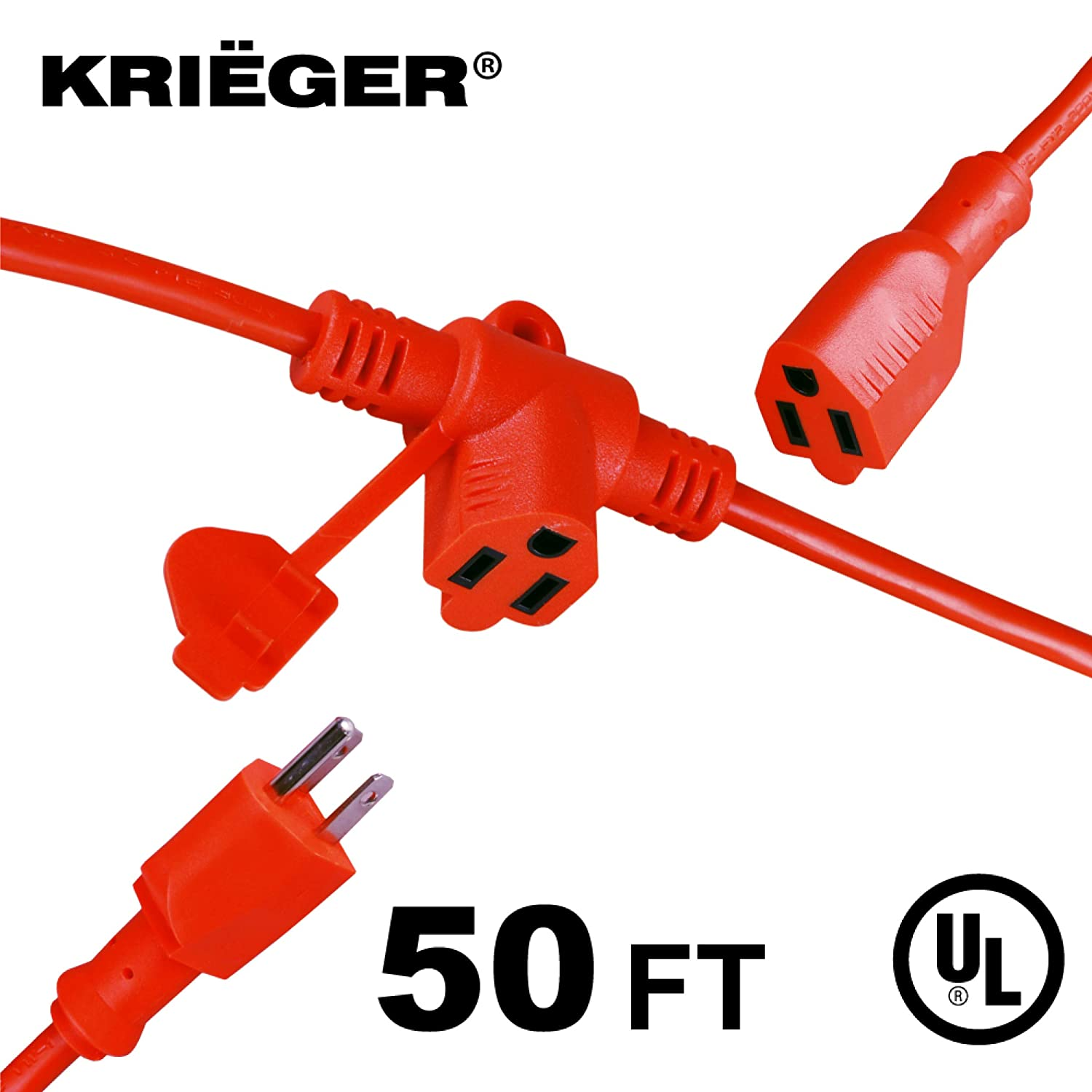 KRIËGER Heavy Duty Multi-Outlet Outdoor Extension Cord with Evenly-Spaced Outlets- 3 AC Power Plugs In 1 Extension Cord - Ideal for Indoor and Outdoor Lights and Appliances- 50 Ft Long