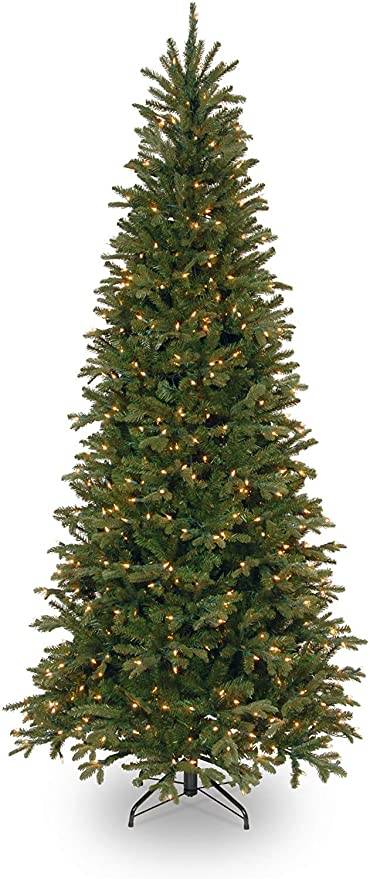 Amazon Com National Tree Company Feel Real Lit Artificial Christmas Tree Includes Pre Strung White Lights And Stand Tiffany Fir Slim 7 5 Ft Green Home Kitchen