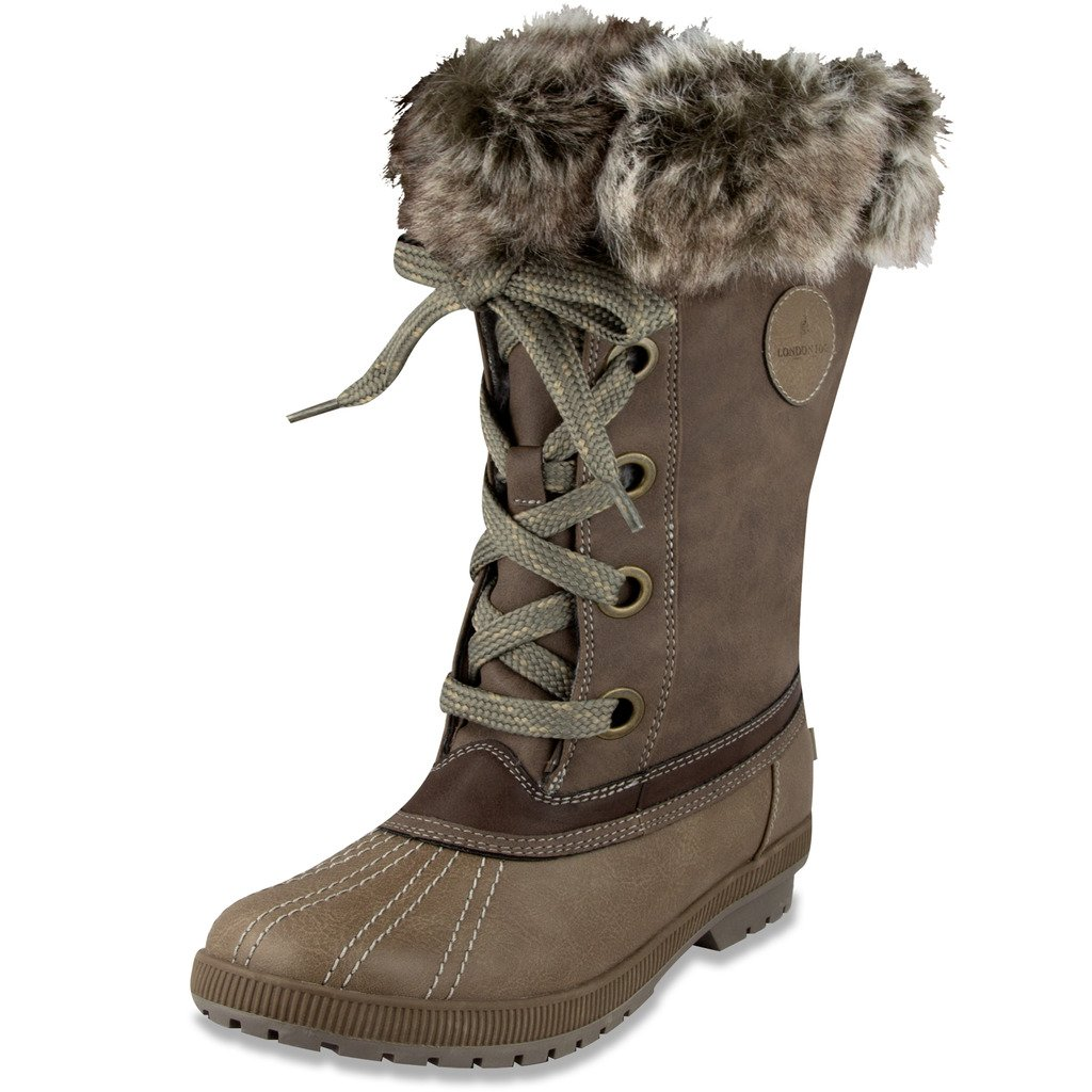 London Fog Womens Melton Cold Weather Waterproof Snow Boot