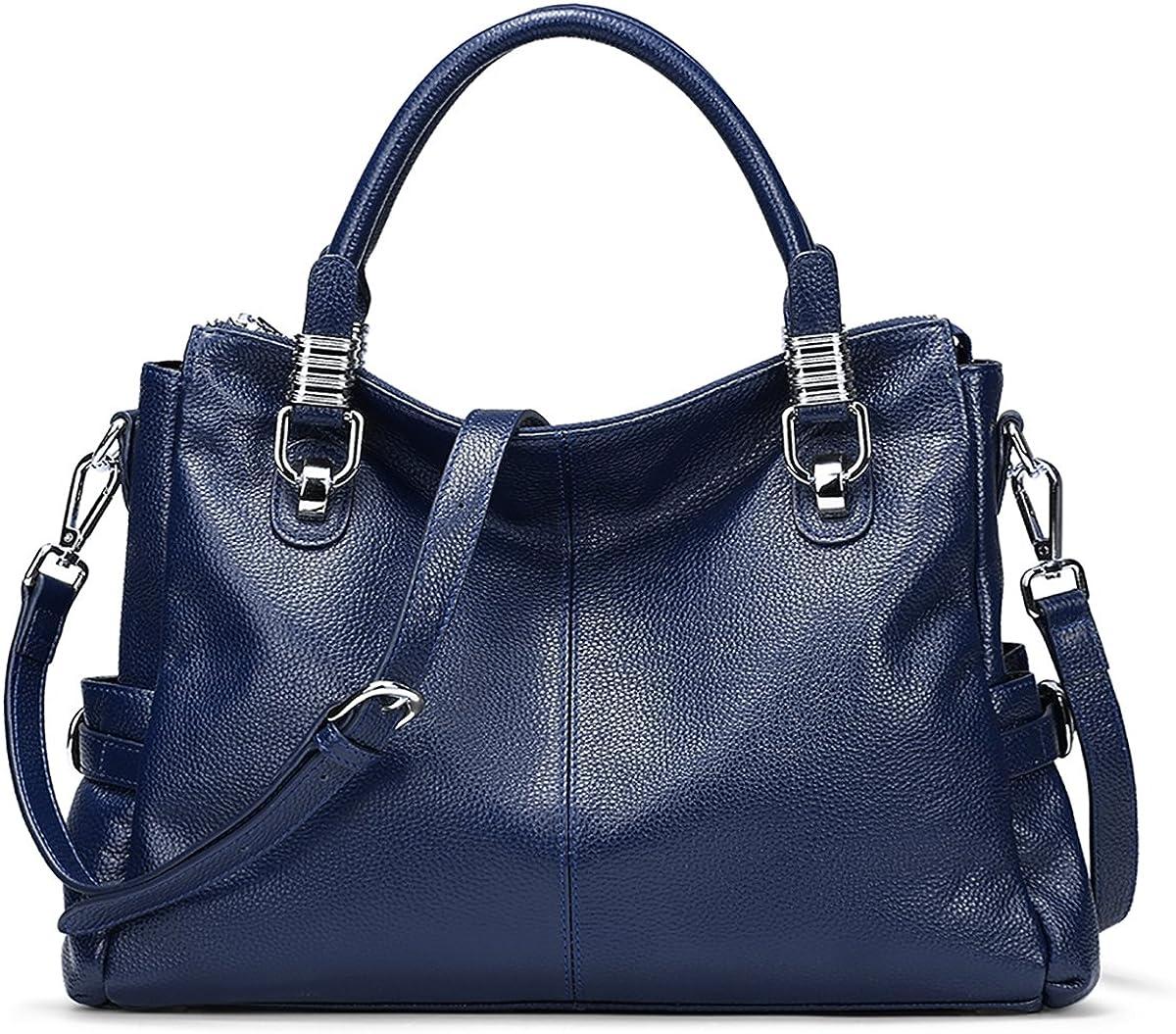 S-ZONE Womens Vintage Genuine Leather Tote Shoulder Bag Top-Handle Crossbody Handbags Ladies Purse
