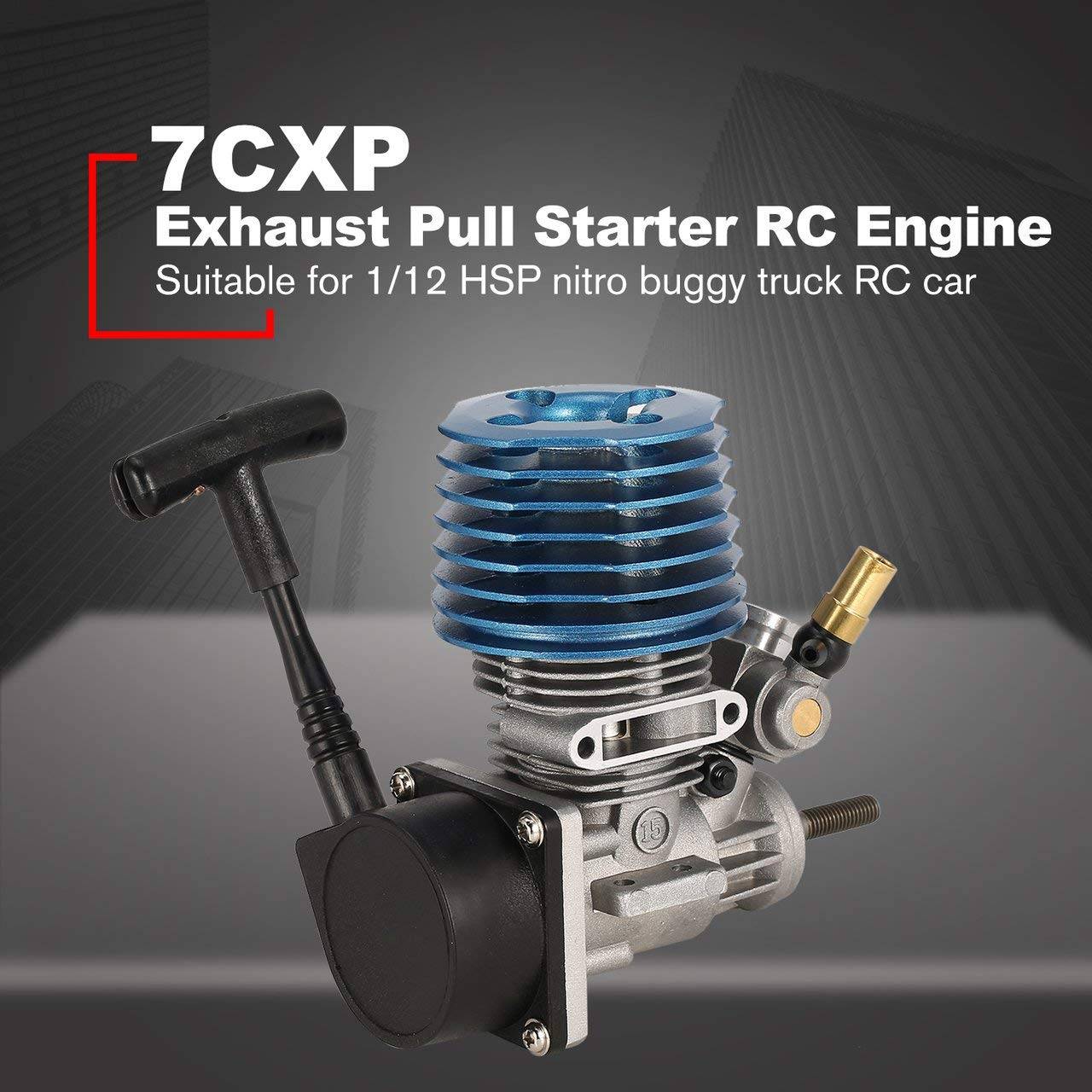 Jasnyfall 1.14CC Seitenabgasmotor Handzug Starter für 1/12 Racing RC Car - Blau