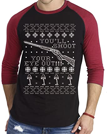 c1e30f92a3d Amazon.com  YM Wear Men s You ll Shoot Your Eye Out Ugly Christmas Baseball  Athletic 3 4 Sleeve Men s T Shirt  Clothing