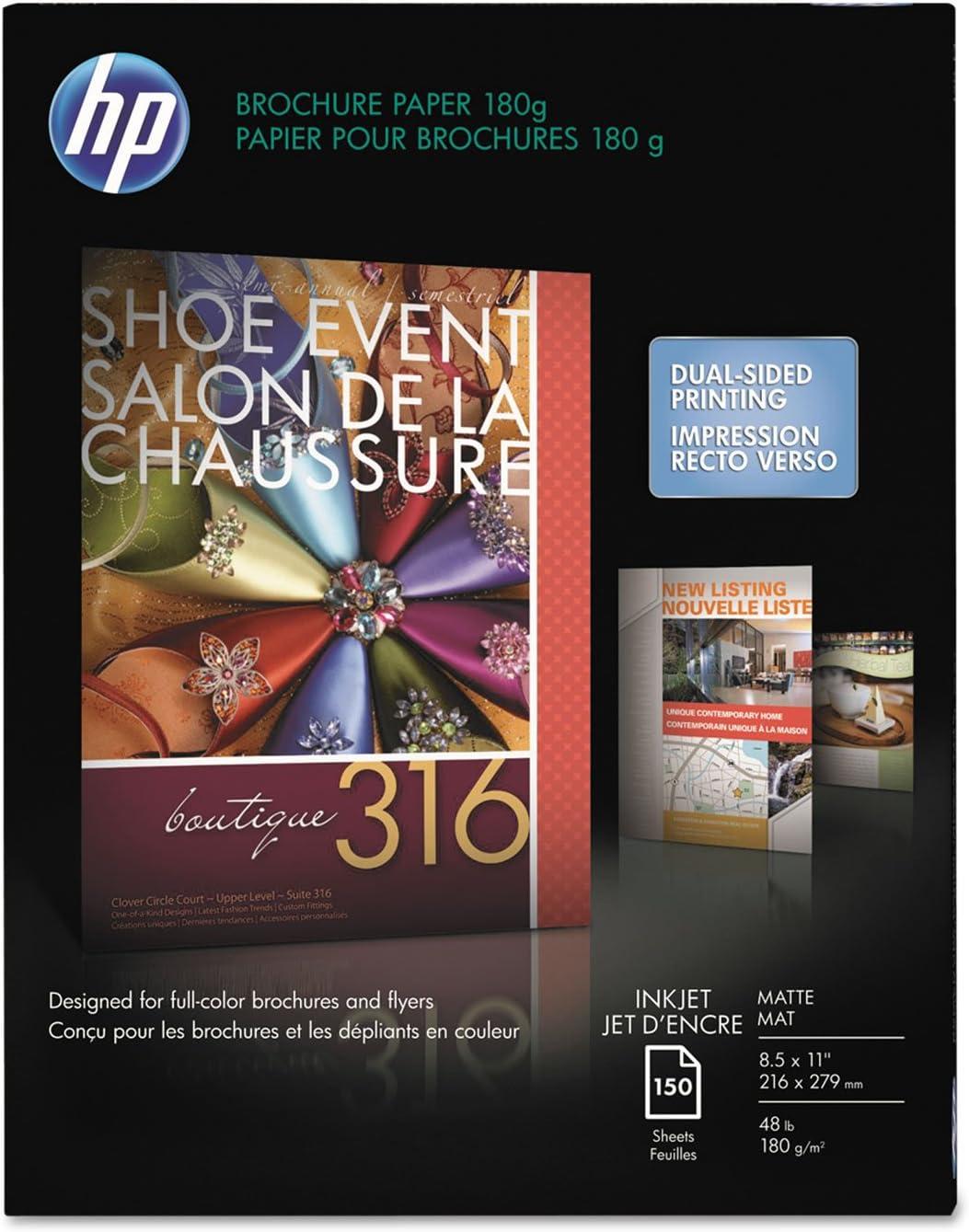 HP CH016A Inkjet Brochure/Flyer Paper, 103 Brightness, 48lb, 8-1/2 x 11, White, 150/Pack