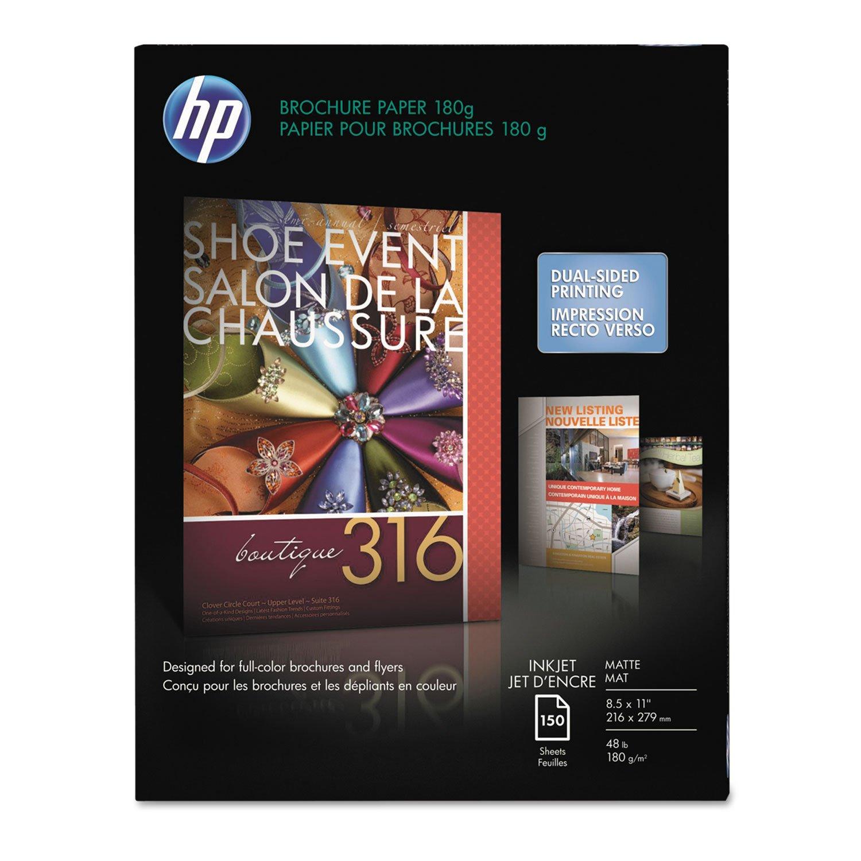 HP CH016A Inkjet Brochure/Flyer Paper, 103 Brightness, 48lb, 8-1/2 x 11, White, 150/Pack by HP