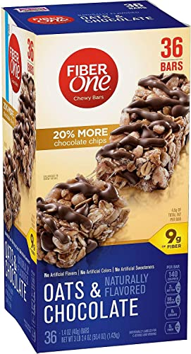 Fiber One Oats and Chocolate Chewy Bars – 20 More Chocolate Chips – 36 Bars