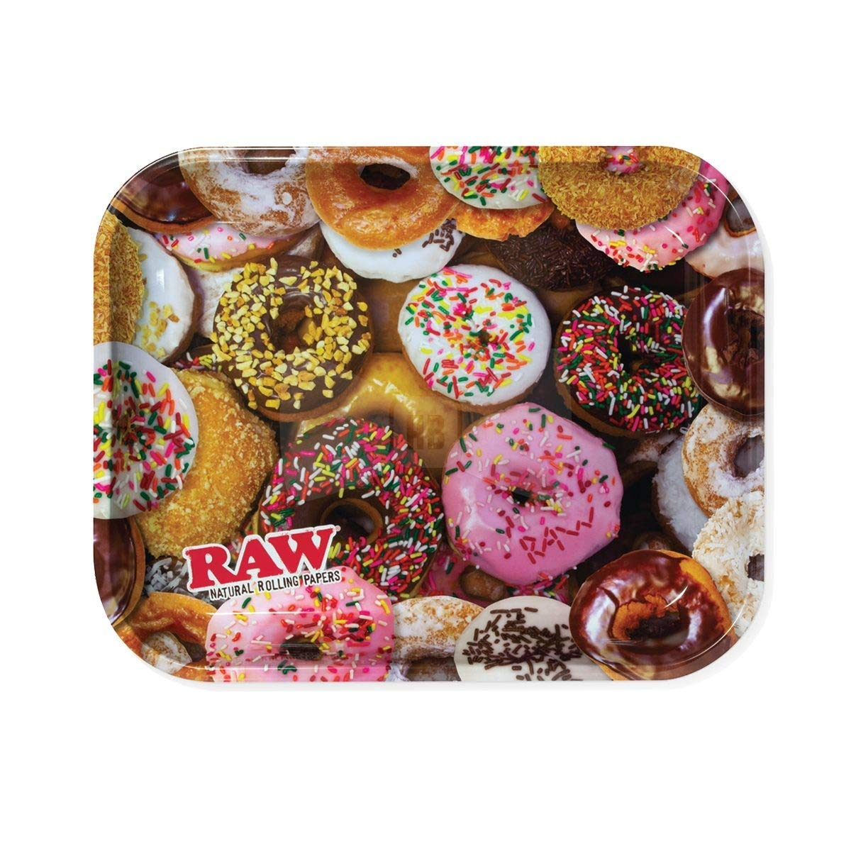 Raw Delicious Doughnuts Metal Rolling Tray - Large 14'' x 11'' by RAW