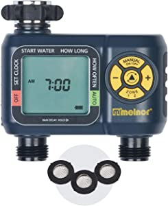 Melnor 65035-AMZ AquaTimer 2-Zone Digital Water Timer with 3 Stainless Steel Filter Washers Set