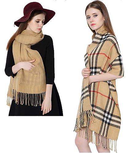Longwu Bufanda de Cachemira sentir super suave manta con dos bolsillo y borla tibio chal para las mujeres