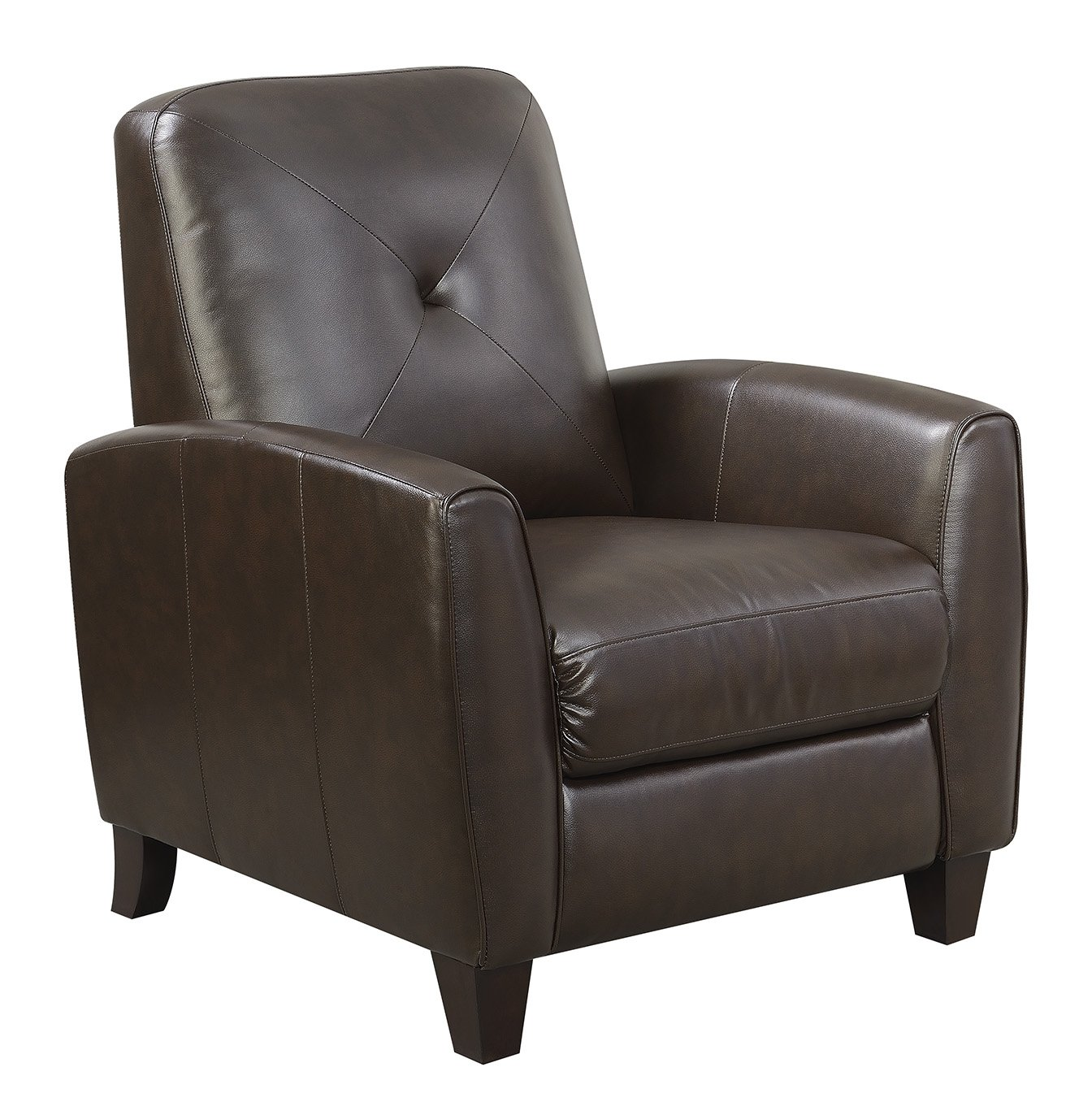 Bryson Transitional Leather Look Press-Back Recliner with Pocketed Coil Seating Black Color Mstar MNY2681-95-51274PU