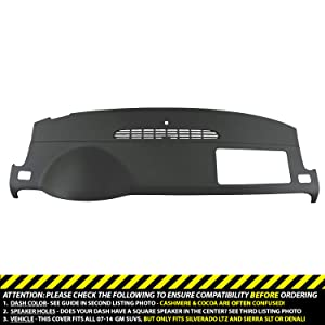 DashSkin Molded Dash Cover Compatible with 07-14 GM SUVs w/o Dash Speaker in Ebony
