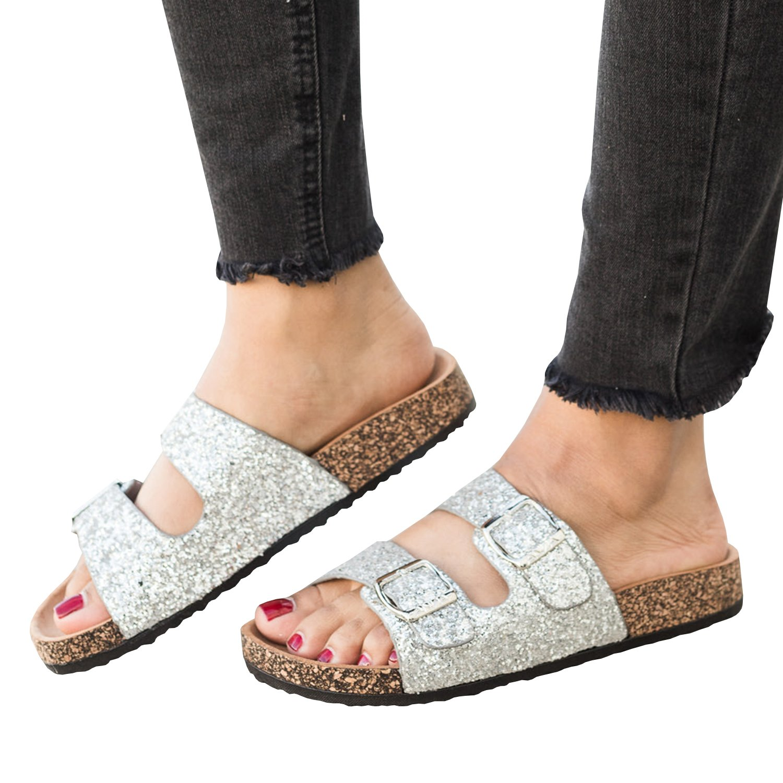 Syktkmx Womens Double Strap Slip on Slides Glitter Buckle Cork Flat Platform Sandals