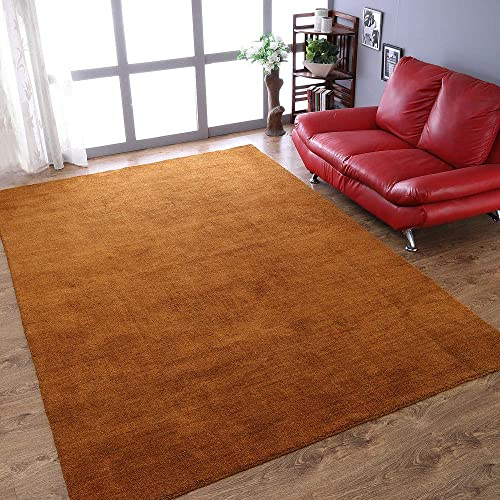 Rugsotic Carpets Hand Knotted Gabbeh Wool 8'x11' Area Rug Solid Orange L00111