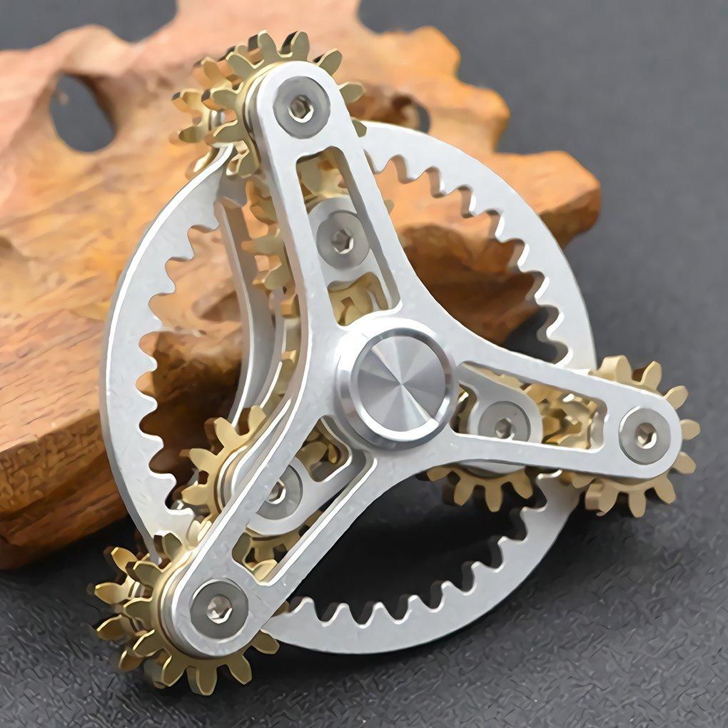 Pure Brass Fidget Spinner Gears Linkage Fidget Gyro Toy Metal DIY Hand Spinner Spins Long Time EDC Focus Meditation Break Bad Habits ADHD With Multiple Premium Bearings (13 Bearings White) by Wewinn