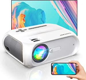 """WiFi Mini Outdoor Projector, 6000 Lux Portable Outdoor Movie Projector, 300"""" Display, Full HD 1080p Supported, Wireless Screen Mirroring, Compatible with iPhone/Android/Laptops/DVD Players/Windows"""