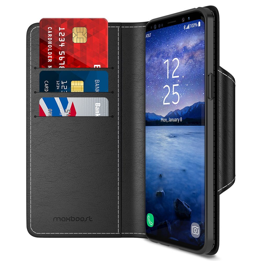 Maxboost Galaxy S9 Wallet Case mWallet Series [Folio Cover][Stand Feature] Premium Samsung Galaxy S9 Credit Card Flip Case [Black] Protective PU Leather with Card Slot + Side Pocket Magnetic Closure by Maxboost