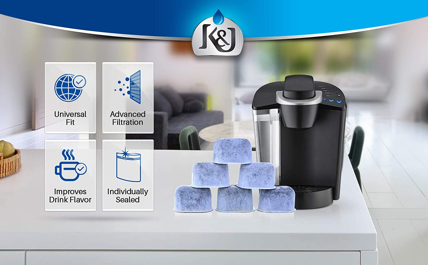 6-Pack KEURIG Compatible Water Filters by K/&J Replacement Charcoal Water Filters for Keurig 2.0 Universal Fit Keurig Compatible Filters and older NOT CUISINART Coffee Machines
